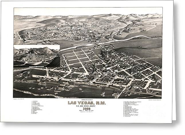 Las Vegas Drawings Greeting Cards - Las Vegas - New Mexico - 1882 Greeting Card by Pablo Romero