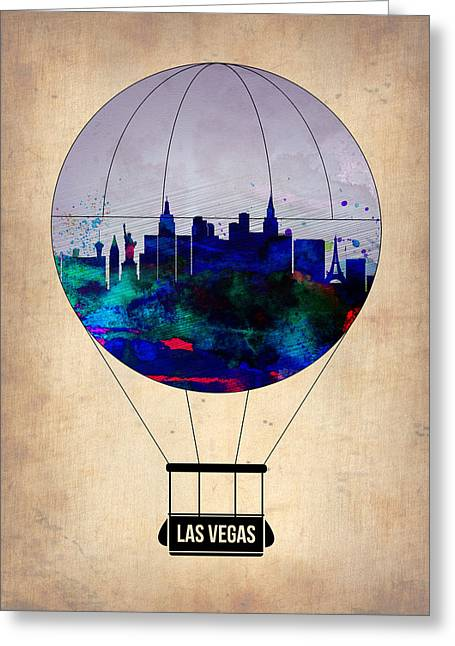 Las Vegas Greeting Cards - LAs Vegas Air Balloon Greeting Card by Naxart Studio