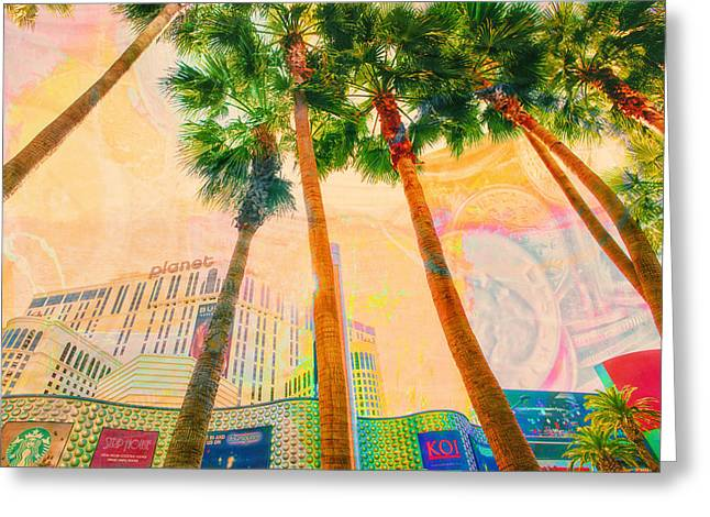 Office Buiding Greeting Cards - Las Vegas and Palm Trees Greeting Card by Susan Stone
