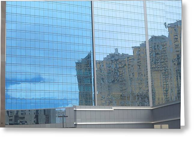 Wife Greeting Cards - Las Vegas Archicture Reflections on Glass Windows Greeting Card by Navin Joshi