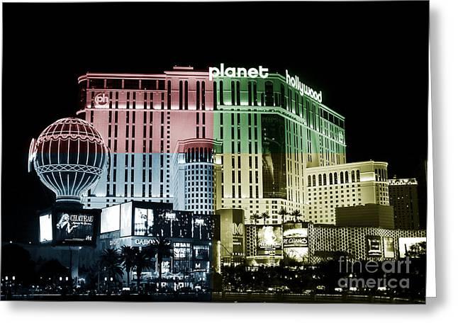 Las Vegas Artist Greeting Cards - Las Vegas at Night Fusion Greeting Card by John Rizzuto