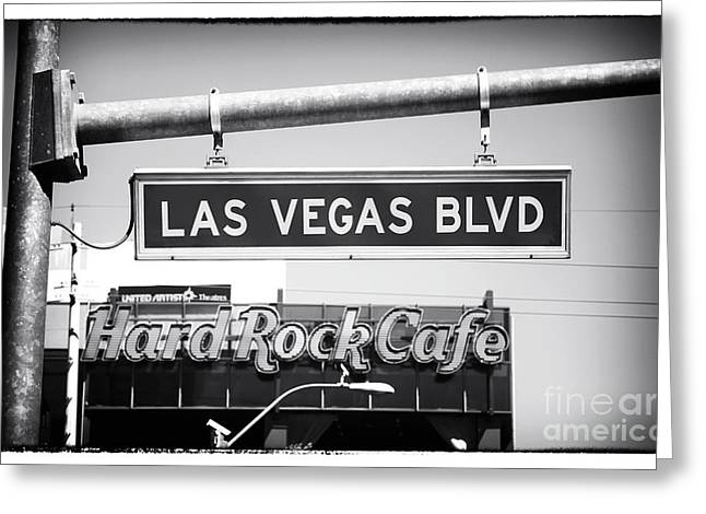 Hard Rock Cafe Greeting Cards - Las Vegas Blvd Greeting Card by John Rizzuto