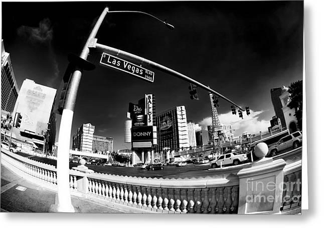 Las Vegas Art Greeting Cards - Las Vegas Boulevard Curves Greeting Card by John Rizzuto