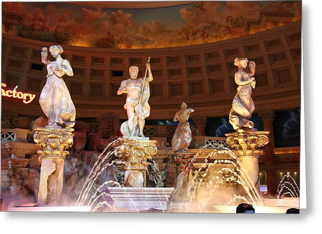 Pond Greeting Cards - Las Vegas - Caesars Palace - 121214 Greeting Card by DC Photographer