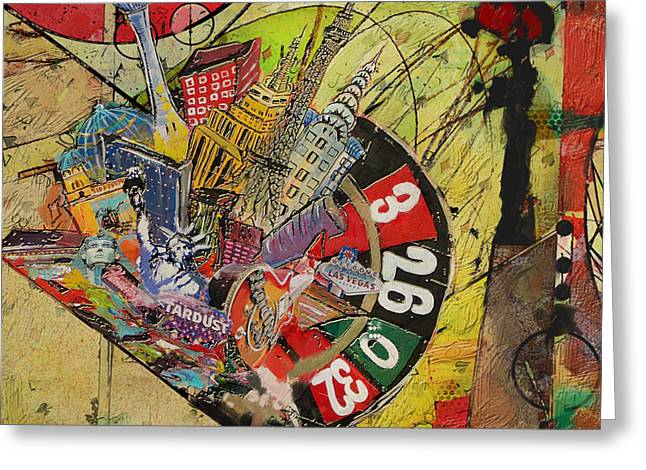 Las Vegas Art Paintings Greeting Cards - Las Vegas Collage Greeting Card by Corporate Art Task Force