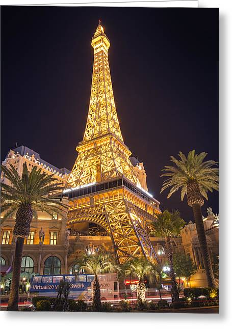 View Pyrography Greeting Cards - Las Vegas Eiffel Tower Greeting Card by Jason  Choy