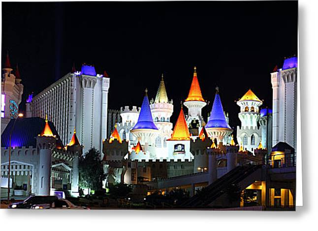 Lit Greeting Cards - Las Vegas - Excalibur Casino - 01131 Greeting Card by DC Photographer