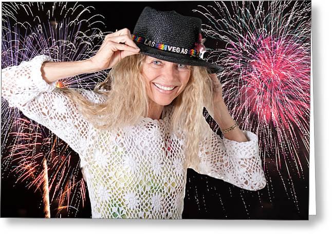 las vegas fireworks party woman Greeting Card by Gunter Nezhoda