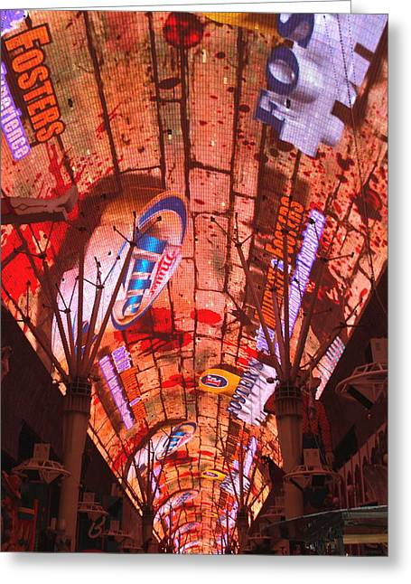 Las Vegas Freemont Street Experience Greeting Card by Lizbeth Bostrom