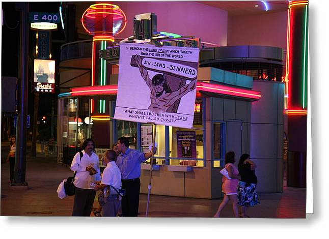 Freemont Greeting Cards - Las Vegas - Fremont Street Experience - 121220 Greeting Card by DC Photographer