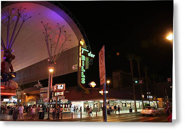 Nevada Greeting Cards - Las Vegas - Fremont Street Experience - 121221 Greeting Card by DC Photographer