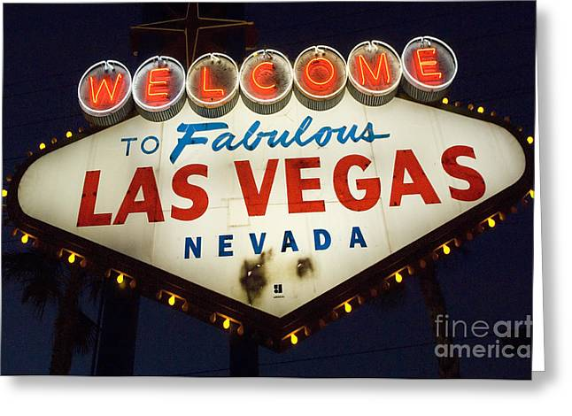 Freemont Street Greeting Cards - Welcome To Fabulous Las Vegas Nevada Sign  Greeting Card by Bob Christopher