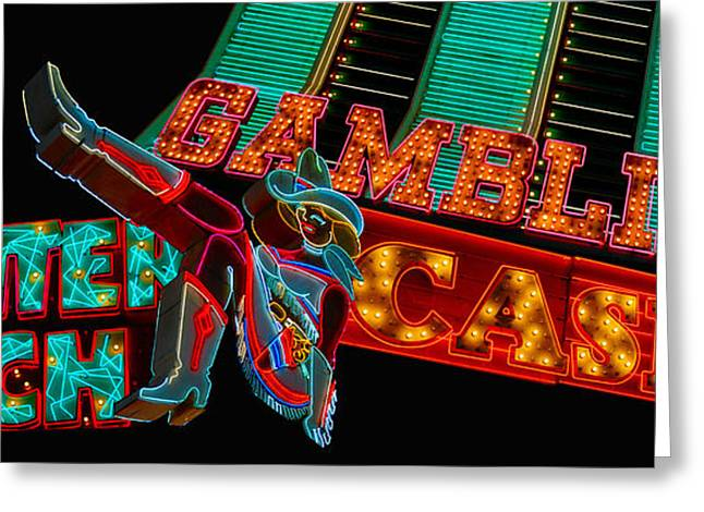 Glitter Gulch Greeting Cards - Las Vegas Neon Signs Fremont Street  Greeting Card by Amy Cicconi