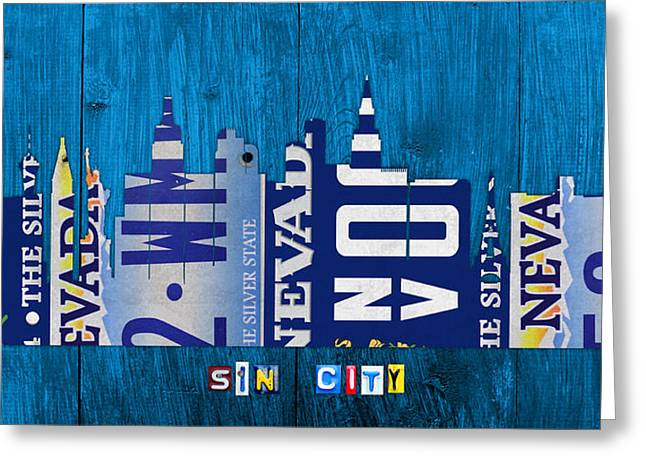 Las Vegas Art Greeting Cards - Las Vegas Nevada City Skyline License Plate Art on Wood Greeting Card by Design Turnpike