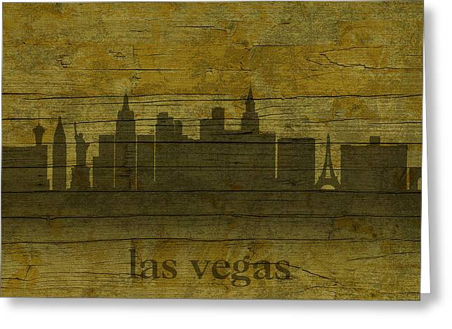 Las Vegas Mixed Media Greeting Cards - Las Vegas Nevada City Skyline Silhouette Distressed on Worn Peeling Wood Greeting Card by Design Turnpike