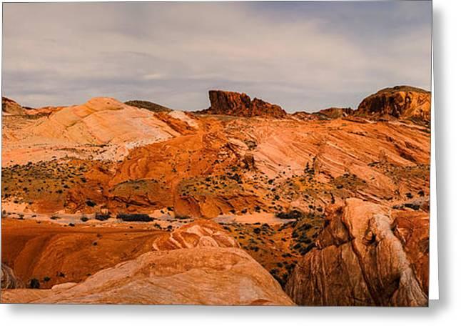 Dry Lake Greeting Cards - Las Vegas Nevada Mojave Desert Valley of Fire Panorama Greeting Card by Silvio Ligutti