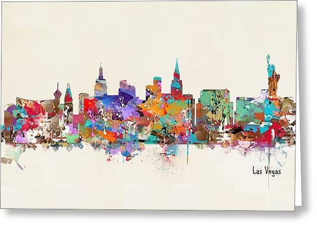 Las Vegas Art Greeting Cards - Las Vegas Nevada Skyline Greeting Card by Bri Buckley
