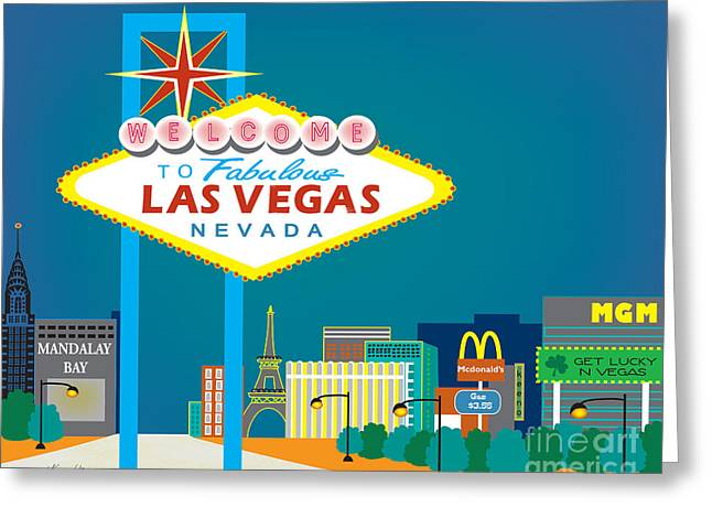 Wall City Prints Greeting Cards - Las Vegas Nevada Skyline Greeting Card by Karen Young