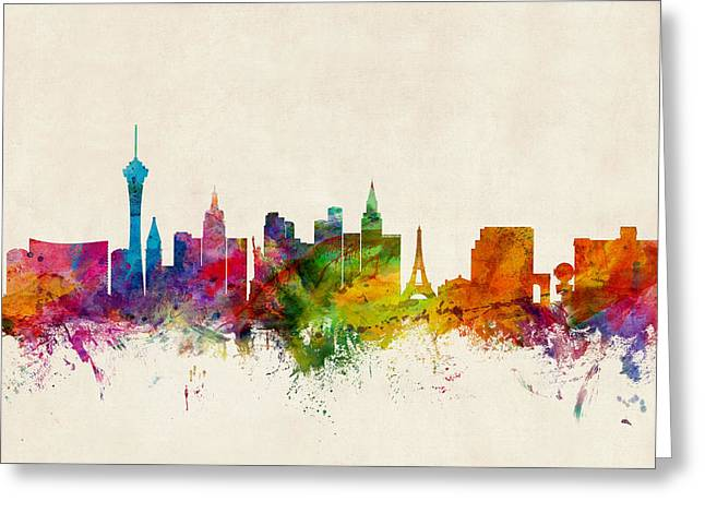 Las Vegas Greeting Cards - Las Vegas Nevada Skyline Greeting Card by Michael Tompsett