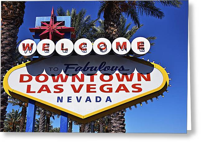 Las Vegas Sign Greeting Cards - Las Vegas Nevada welcome sign Greeting Card by Garry Gay