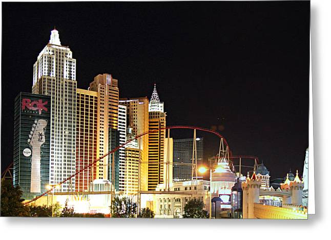 Buildings Greeting Cards - Las Vegas - New York New York Casino - 01132 Greeting Card by DC Photographer