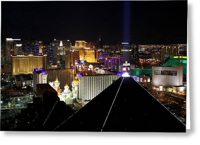 Tropicana Las Vegas Greeting Cards - Las Vegas Night Pano Greeting Card by Jim Robbins