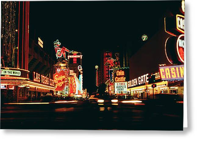 Night Shot Greeting Cards - Las Vegas Nv Downtown Neon, Fremont St Greeting Card by Panoramic Images
