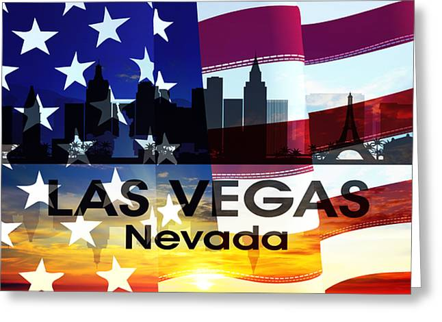 Las Vegas Mixed Media Greeting Cards - Las Vegas NV Patriotic Large Cityscape Greeting Card by Angelina Vick