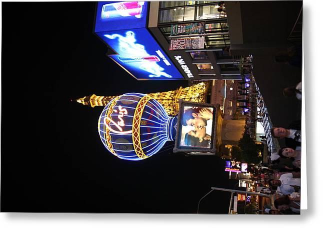 Tower Greeting Cards - Las Vegas - Paris Casino - 121216 Greeting Card by DC Photographer