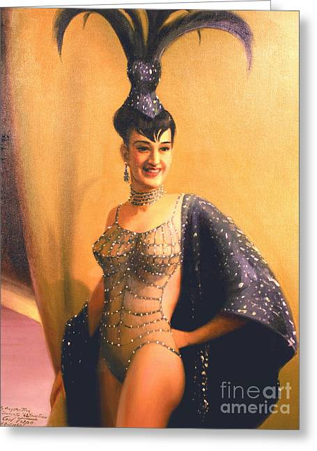 Updo Greeting Cards - Las Vegas Showgirl  1960s Greeting Card by Art By Tolpo Collection