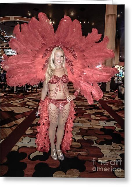 Panties Greeting Cards - Las Vegas Showgirl Greeting Card by Edward Fielding
