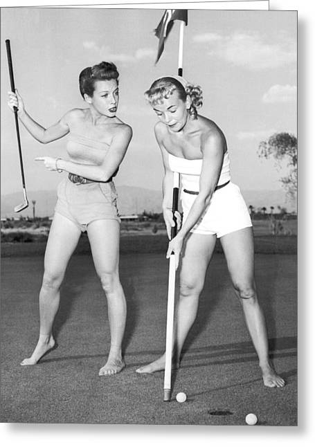 Las Vegas Showgirl Golf Greeting Card by Underwood Archives