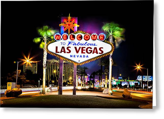 Hallways Greeting Cards - Las Vegas Sign Greeting Card by Az Jackson