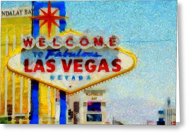 Fame Mixed Media Greeting Cards - Las Vegas Sign Greeting Card by Dan Sproul