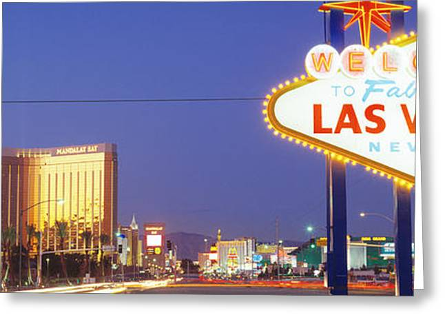 Las Vegas Greeting Cards - Las Vegas Sign, Las Vegas Nevada, Usa Greeting Card by Panoramic Images