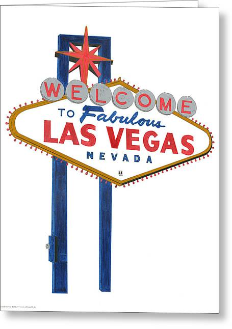 Las Vegas Drawings Greeting Cards - Las Vegas Sign Greeting Card by Robert Tibolt