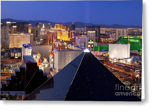 Gambling Greeting Cards - Las Vegas Skyline Greeting Card by Brian Jannsen