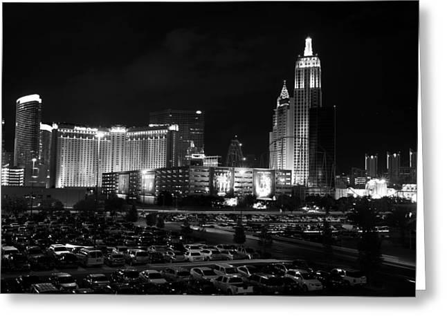 Tropicana Las Vegas Greeting Cards - Las Vegas Skyline BW Greeting Card by Arnold Despi