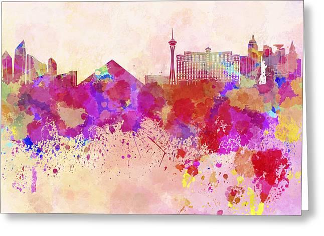 Las Vegas Art Greeting Cards - Las Vegas skyline in watercolor background Greeting Card by Pablo Romero
