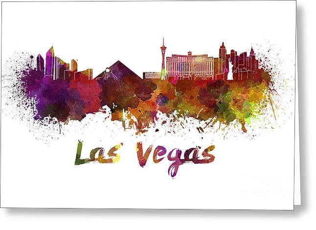 Las Vegas Art Greeting Cards - Las Vegas skyline in watercolor Greeting Card by Pablo Romero