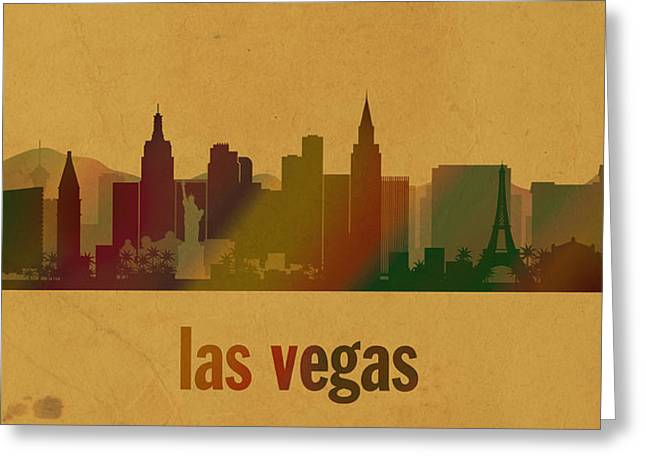 Las Vegas Mixed Media Greeting Cards - Las Vegas Skyline Watercolor on Parchment Greeting Card by Design Turnpike