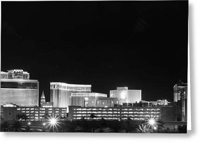 Light And Dark Greeting Cards - Las Vegas Skyline West View BW Greeting Card by Arnold Despi