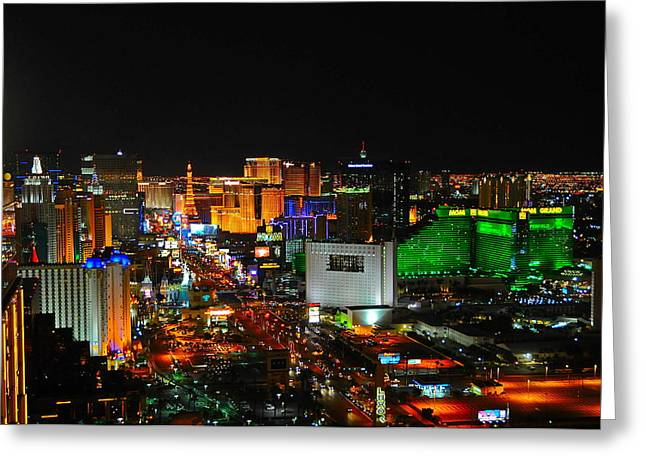 Tropicana Las Vegas Greeting Cards - Las Vegas Strip at night Greeting Card by Amanda Miles
