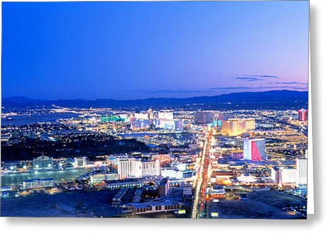 Las Vegas Greeting Cards - Las Vegas Strip, Nevada, Usa Greeting Card by Panoramic Images