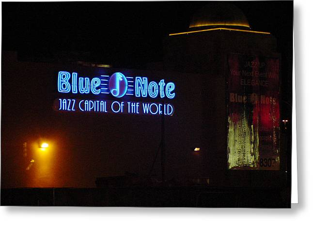 Emart Gallery Greeting Cards - Las Vegas version of Blue Note Greeting Card by Mieczyslaw Rudek