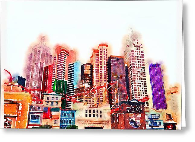 Vegas Greeting Cards - Las Vegas watercolour Greeting Card by Jane Rix
