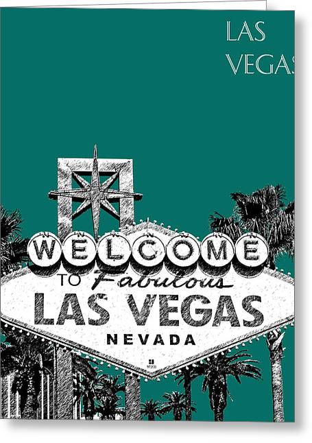 Las Vegas Art Greeting Cards - Las Vegas Welcome to Las Vegas - Sea Green Greeting Card by DB Artist
