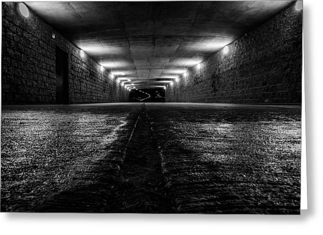 Lasalle Street Greeting Cards - LaSalle Drive Tunnel Monochrome Greeting Card by Randy Scherkenbach