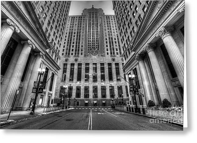 Lasalle Street Greeting Cards - LaSalle Street in Chicago in Black and White Greeting Card by Twenty Two North Photography