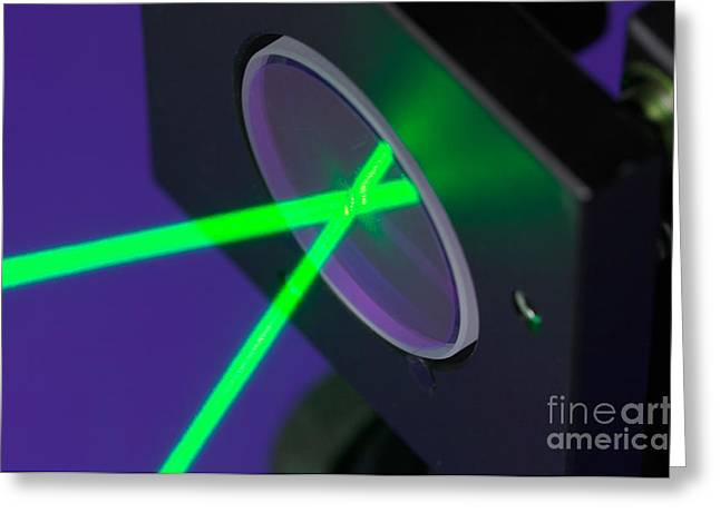 Laser Beam Greeting Cards - Laser Beam Reflection Greeting Card by GIPhotostock